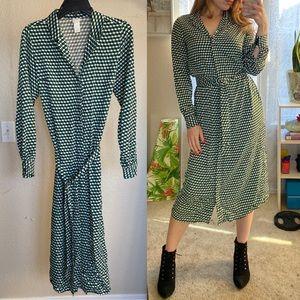 Checkered pattern long sleeve midi H&M dress